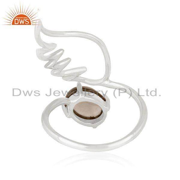 Suppliers Angel Wing 925 Sterling Fine Silver Smoky Quartz Gemstone Ring Wholesale