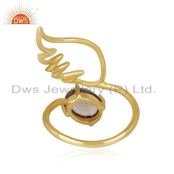 Suppliers Amgel Wing 925 Sterling Silver Gold Plated Smoky Quartz Ring Manufacturers