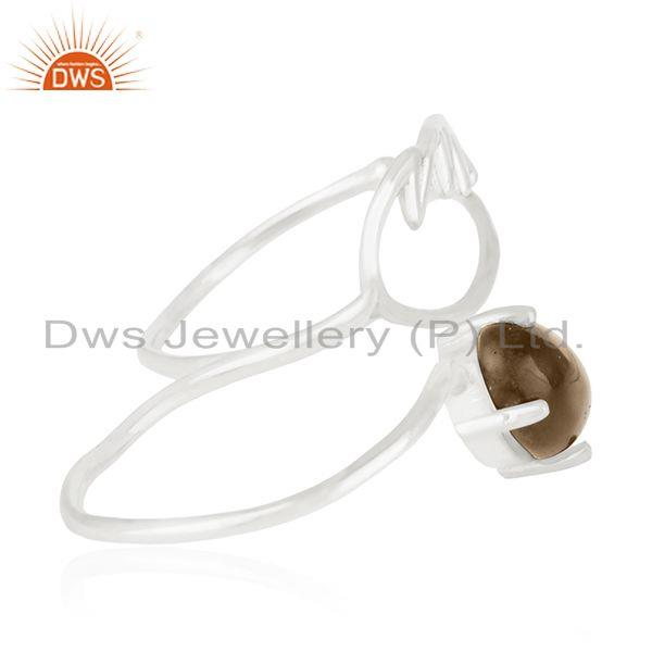 Suppliers 92.5 Fine Silver Angel Wing Smoky Quartz Double Finger Ring Manufacturers