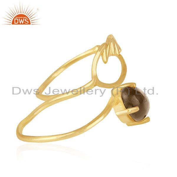 Suppliers Angel Wing 925 Silver Gold Plated Smoky Quartz Double Finger Ring Wholesale
