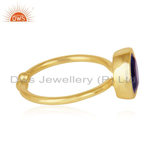 Suppliers Blue Corundum Gemstone 925 Sterling Silver Gold Plated Ring Manufacturers
