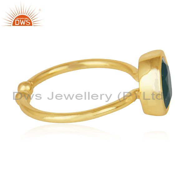 Suppliers Green Onyx Gemstone 925 Sterling Silver Gold Plated Ring Wholesale Suppliers