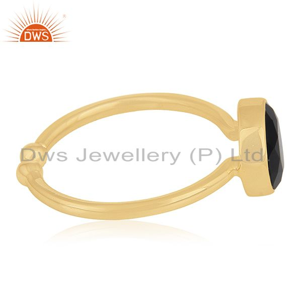 Suppliers Yellow Gold Plated 925 Silver Blue Corundum Gemstone Ring Manufacturers