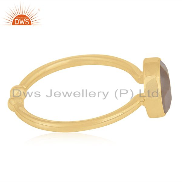 Suppliers Rose Quartz Gemstone 925 Silver Gold Plated Ring Manufacturer