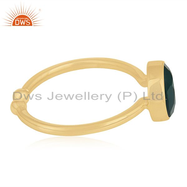 Suppliers Green Onyx Gemstone 925 Sterling Silver Gold Plated Ring Wholesale
