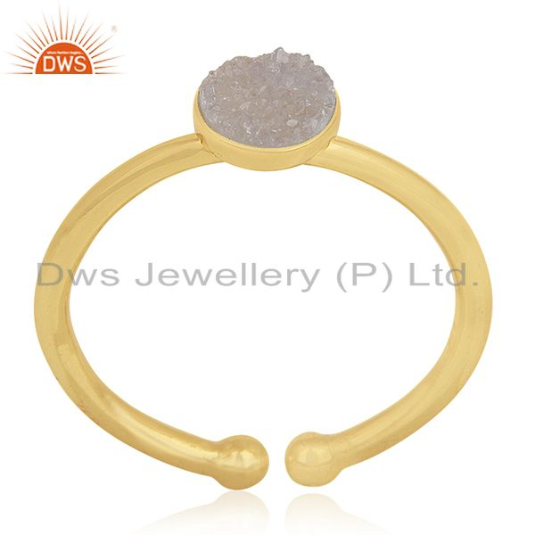Suppliers White Druzy Handmade 925 Silver Gold Plated Ring Manufacturers