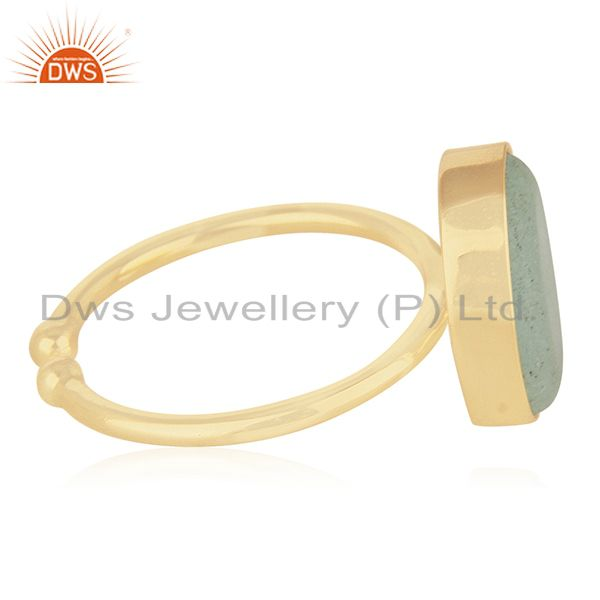 Suppliers Aqua Gemstone 925 Silver Handmade Gold Plated Statement Ring Wholesale
