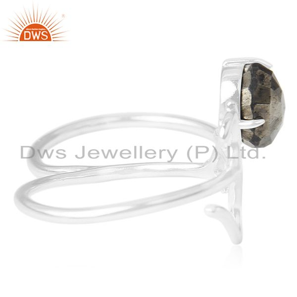Suppliers Indian Religious Om Charm Pyrite Gemstone 925 Silver Double Finger Ring Supplier