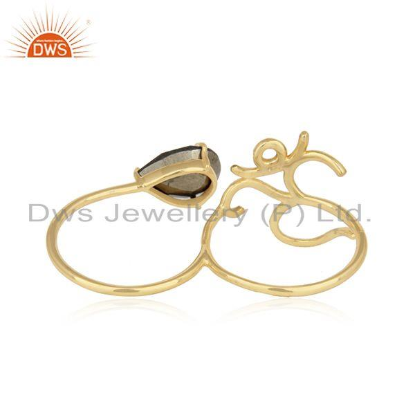 Designer of Holy om designer ring in yellow gold on silver 925 and pyrite