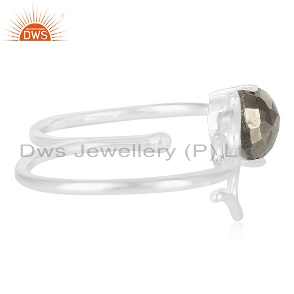 Suppliers Fine Sterling Silver Om Charm Pyrite Gemstone Double Finger Ring Manufacturers