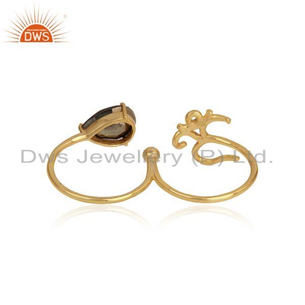 Designer of Designer om symbol ring in yellow gold on silver 925 and pyrite
