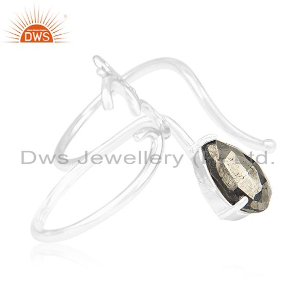 Suppliers Pyrite Gemstone 925 Sterling Silver Om Aum Double Finger Ring Wholesale