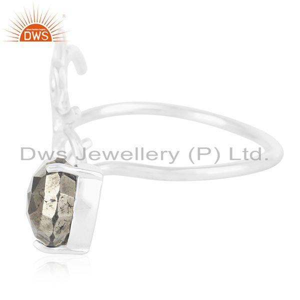 Suppliers Fine Silver Om Aum Charm Pyrite Gemstone Double Finger Ring Manufacturers