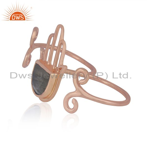 Suppliers Labradorite Gemstone Rose Gold Plated Silver Hamsa Hand Ring Jewelry