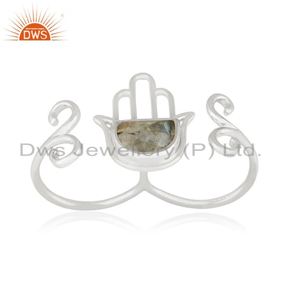 Suppliers New Arrival Hamsa Hand Charm Fine Sterling Silver Double Finger Ring Wholesale