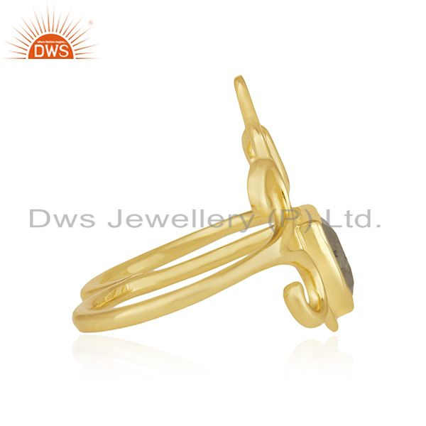 Suppliers Designer Hamsa Hand Lucky Charm Gold Plated Silver Gemstone Double Finger Ring