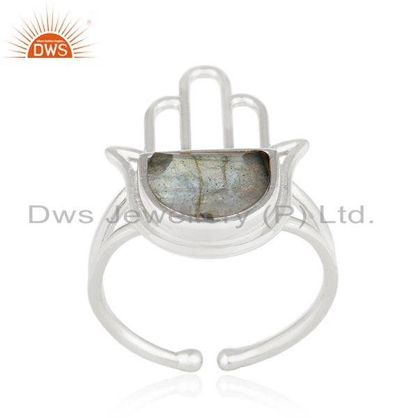 Suppliers 92.5 Sterling Silver Lucky Hamsa Hand Charm Labradorite Ring Manufacturer