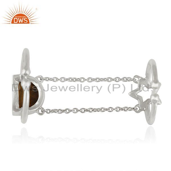 Suppliers Tiger Eye Gemstone Star Charm 925 Silver Finger Ring Wholesale