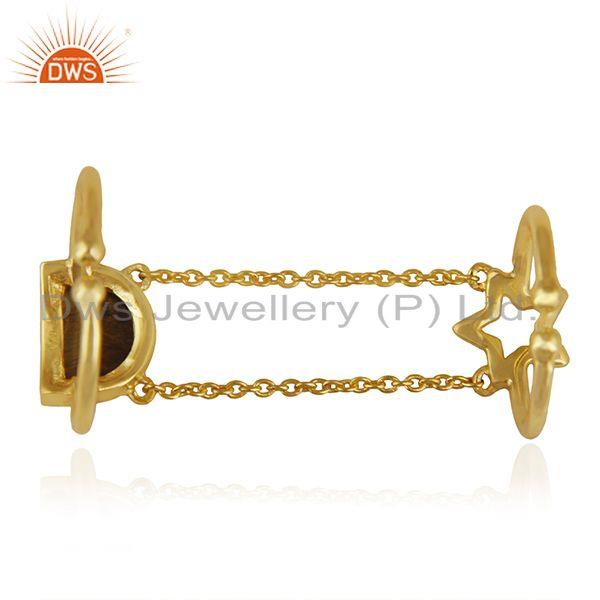 Suppliers Tiger Eye Gemstone 925 Silver Gold Plated Star Charm Finger Ring Wholesale