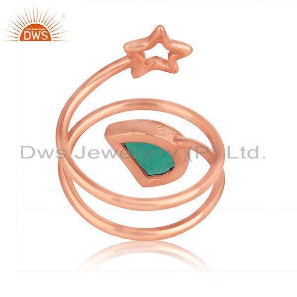 Designer of Green onyx gemstone star designer rose gold plated silver rings