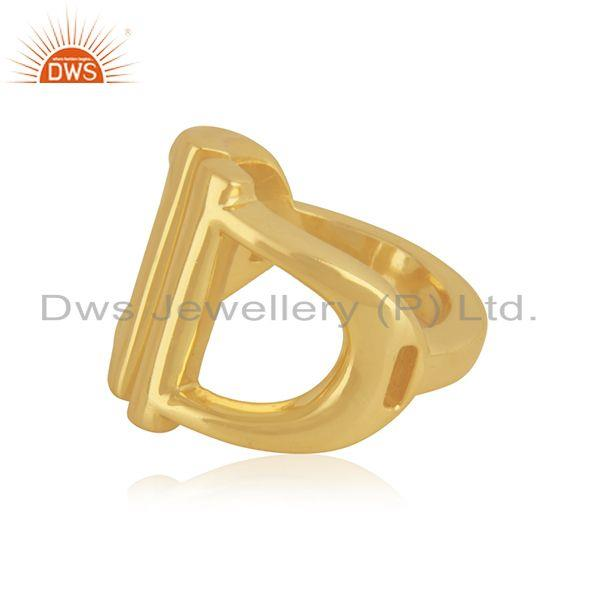 Suppliers 18k Gold Plated D Shape 925 Sterling Plain Silver Ring Manufacturer India