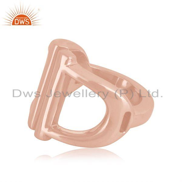 Suppliers D Design 925 Sterling Silver Rose Gold Plated Handmade Ring Manufacturer India