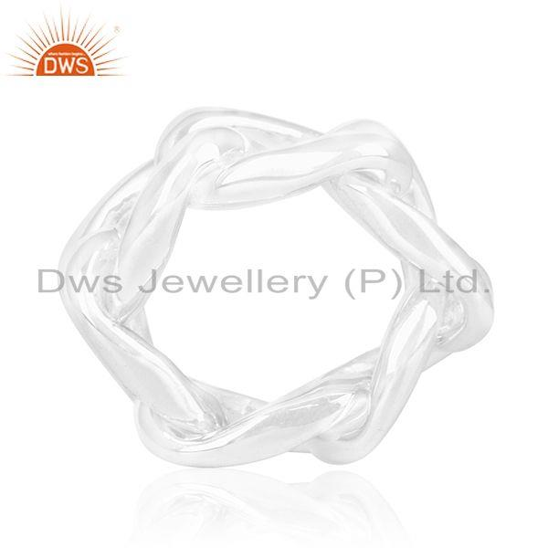 Suppliers 925 Sterling Plain Silver Chain Link Design Ring Manufacturer of Wedding Rings