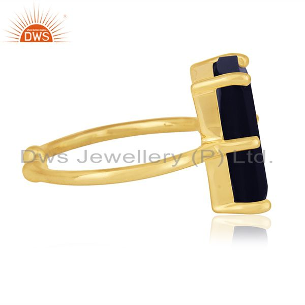 Suppliers Blue Corundum Gemstone 925 Silver Gold Plated Adjustable Ring Wholesale