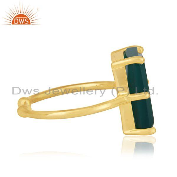 Suppliers 925 Silver Gold Plated Green Onyx Gemstone Adjustable Ring Suppliers