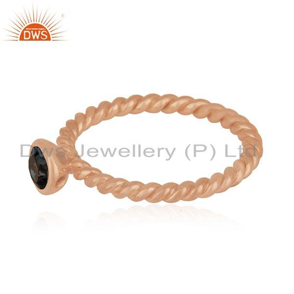 Suppliers Rose Gold Plated Sterling Silver London Blue Topaz Gemstone Ring Manufacturer