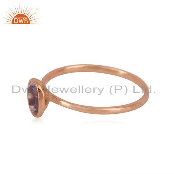 Suppliers Handmade 925 Silver Rose Gold Plated Amethyst Gemstone Simple Ring Wholesaler