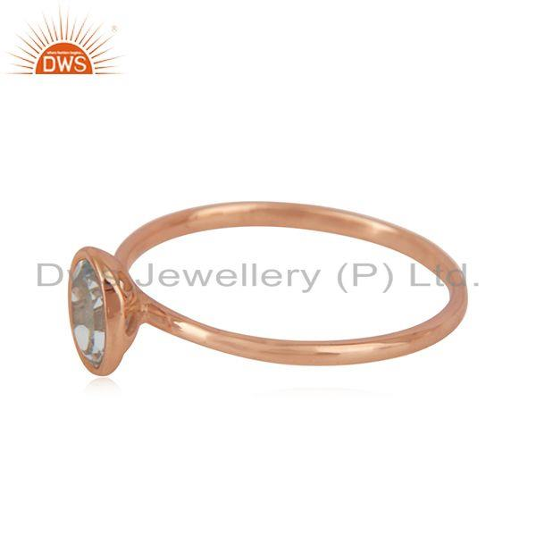 Suppliers Blue Topaz Handmade Rose Gold Plated Sterling Silver Ring Jewelry Wholesale