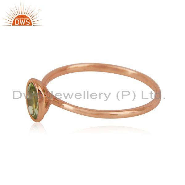 Suppliers Oval Cut Peridot Gemstone Rose Gold Plated 925 Silver Ring Manufacturer Jaipur