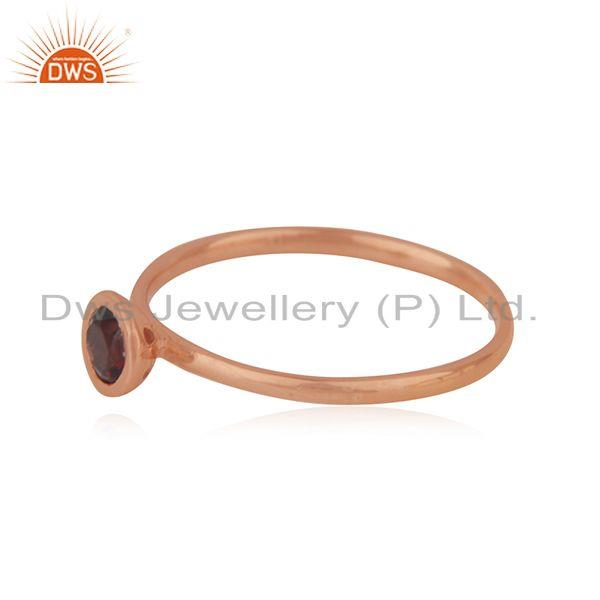 Suppliers Rose Gold Plated Sterling Silver Garnet Gemstone Simple Ring Manufacturer INDIA