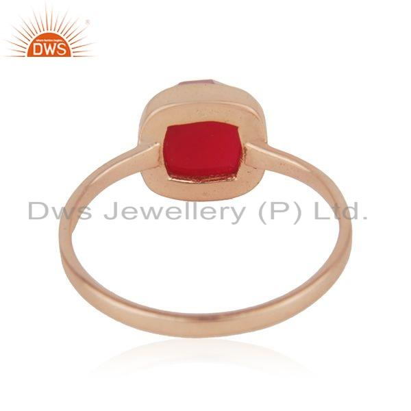 Suppliers Rose Gold Plated 925 Silver Pink Chalcedony Gemstone Ring Jewelry