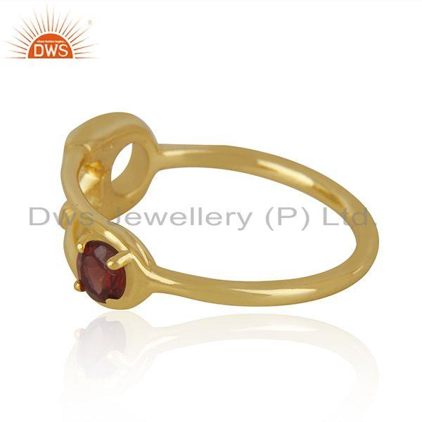 Suppliers Customized Pin Design Gold Plated 925 Silver Garnet Gemstone Ring Wholesale