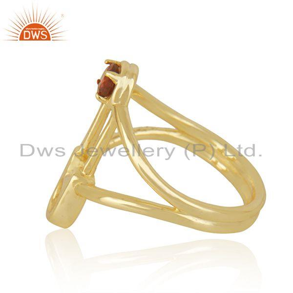 Suppliers Safty Pin Shape Gold Plated Silver Garnet Gemstone Ring Jewelry