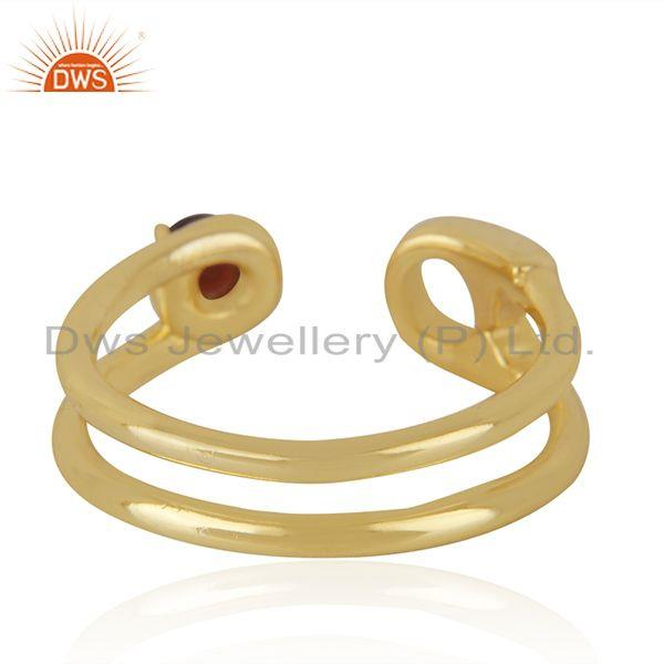 Suppliers Garnet Gemstone Gold Plated 925 Silver Pin Design Ring Manufacturer India
