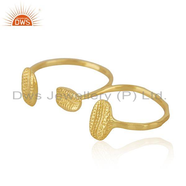 Suppliers New Yellow Gold Plated Silver Double Finger Ring Jewelry Supplier