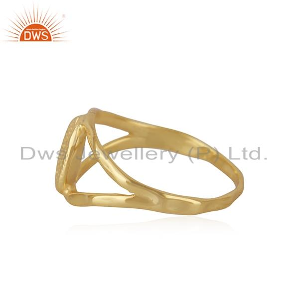 Suppliers Handcrafted Gold Plated 925 Sterling Plain Silver Ring Manufacturer India