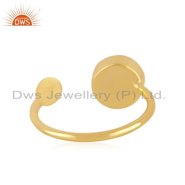 Suppliers Handmade 925 Silver Gold Plated Rose Chalcedony Gemstone Girls Ring Wholesale