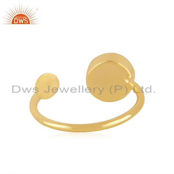 Suppliers Natural Green Onyx Gemstone Gold Plated 925 Silver Ring Supplier from Jaipur