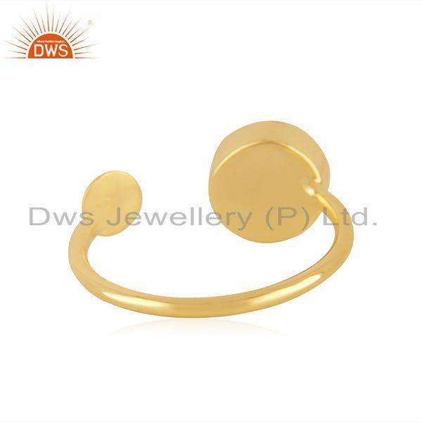 Suppliers Red Onyx Gemstone 925 Silver Gold Plated Designer Ring Manufacturer India
