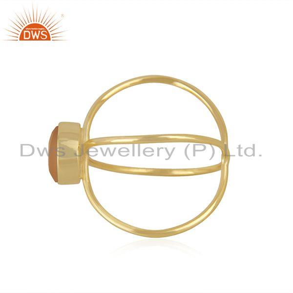 Suppliers Yellow Gold Plated 925 Silver Rose Chalcedony Gemstone Ring Manufacturer India