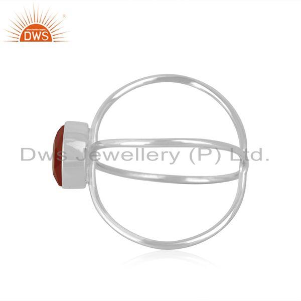 Suppliers Red Onyx Gemstone 925 Sterling Fine Silver Ring Manufacturer of Girls Jewelry