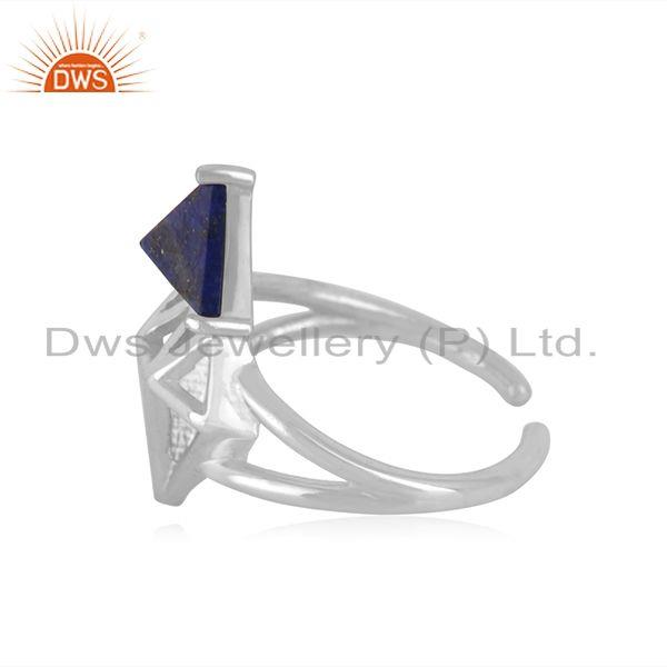 Suppliers Sterling Fine Silver Lapis Lazuli Gemstone Diamond Design Ring Manufacturer
