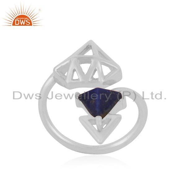 Suppliers Lapis Lazuli Gemstone 925 Sterling Fine Silver Diamond Shape Ring Manufacturer