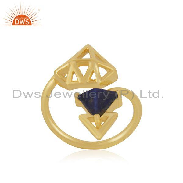 Suppliers Lapis Lazuli Gemstone Gold Plated 925 Silver Diamond Design Ring Manufacturer