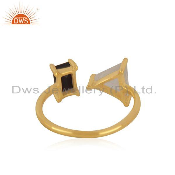 Suppliers Natural Multi Gemstone 925 Silver Gold Plated Ring Manufacturer India