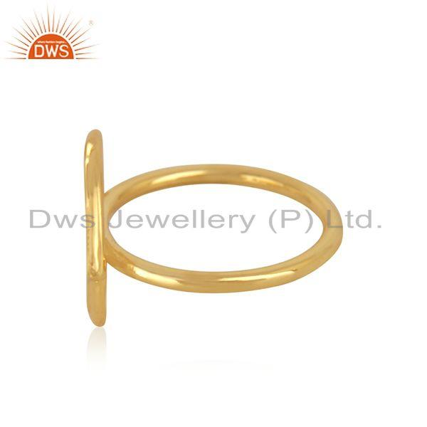 Suppliers Compass Shape Sterling Silver Gold Plated Designer RIng Manufacturer in Jaipur